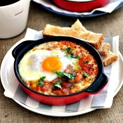 Bringing cafe-style breakfast back to home - baked eggs with spicy beans #foodgawker
