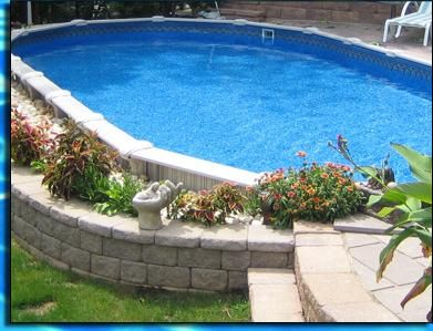 Semi in ground pool finishes pools decks pinterest for Above ground pool decks tampa