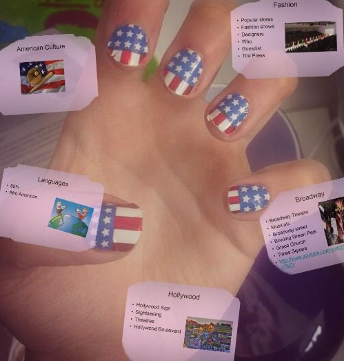 I LOVE AMERICA so I used Nail Rock to make my nails like this. I had an English presentation about the American culture. I wanted to be in style haha. I added some of my powerpoint pages on the picture too.