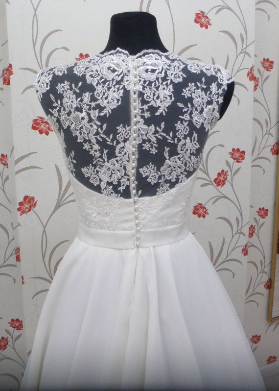 Vintage Inspired Tea Length Wedding Dress with Lace Corset, Illusion ...