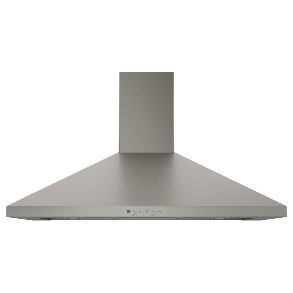 Ge 36 In Convertible Wall Mount Range Hood With Light In Slate