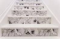 black and white flower staircase...