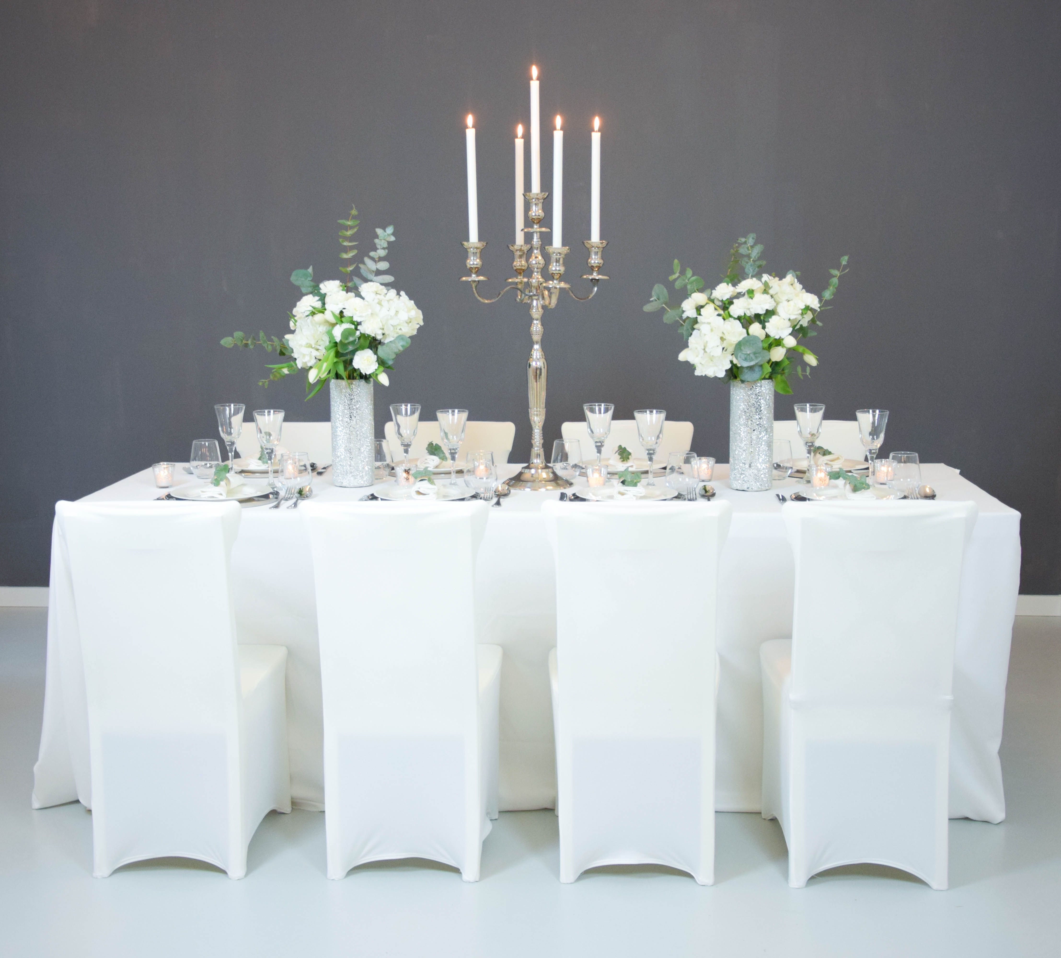 Dekoration i hochzeit i silber i wei i tulpen i glas i - Marmeladenglas deko ...