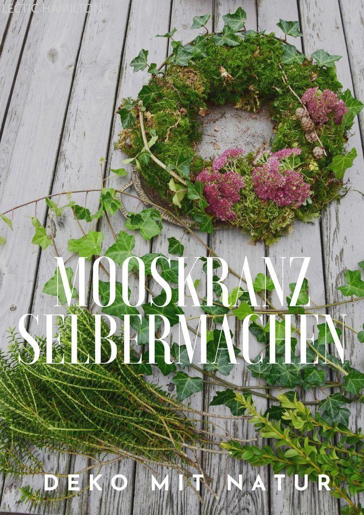 Photo of Mooskranz selber machen Deko mit Moos und Naturmaterialen DIY Efeu Kranz Wreath …