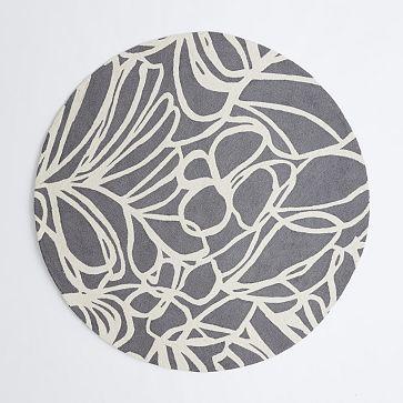 Sketch Round Wool Rug Steel Westelm Furnishing Small