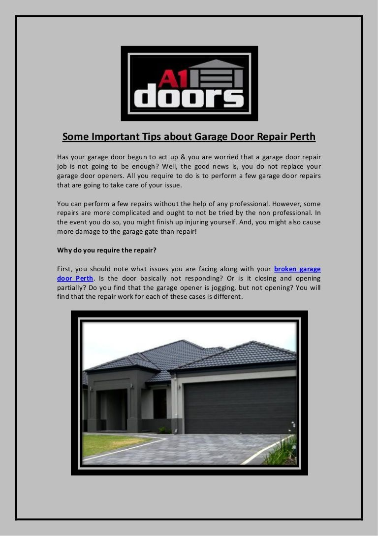Some Important Tips About Garage Door Repair Perth A1