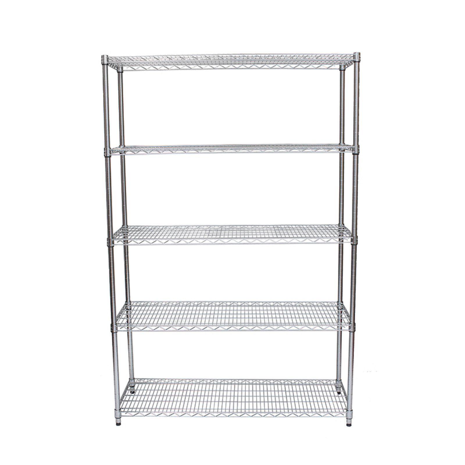 "5 Tier Wire Steel Shelving Rack Heavy Duty 73/""x36/""x14/"" Chrome Shelf Adjustable"