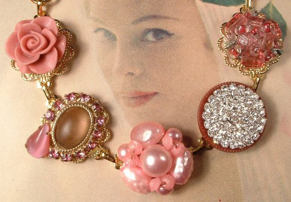 Vintage  Dusty Mauve Pink & Sienna Pearl and Rhinestone Bridesmaids Bracelet, Heirloom Cluster Earring Gold OOAK Bracelet Bridesmaids Gift