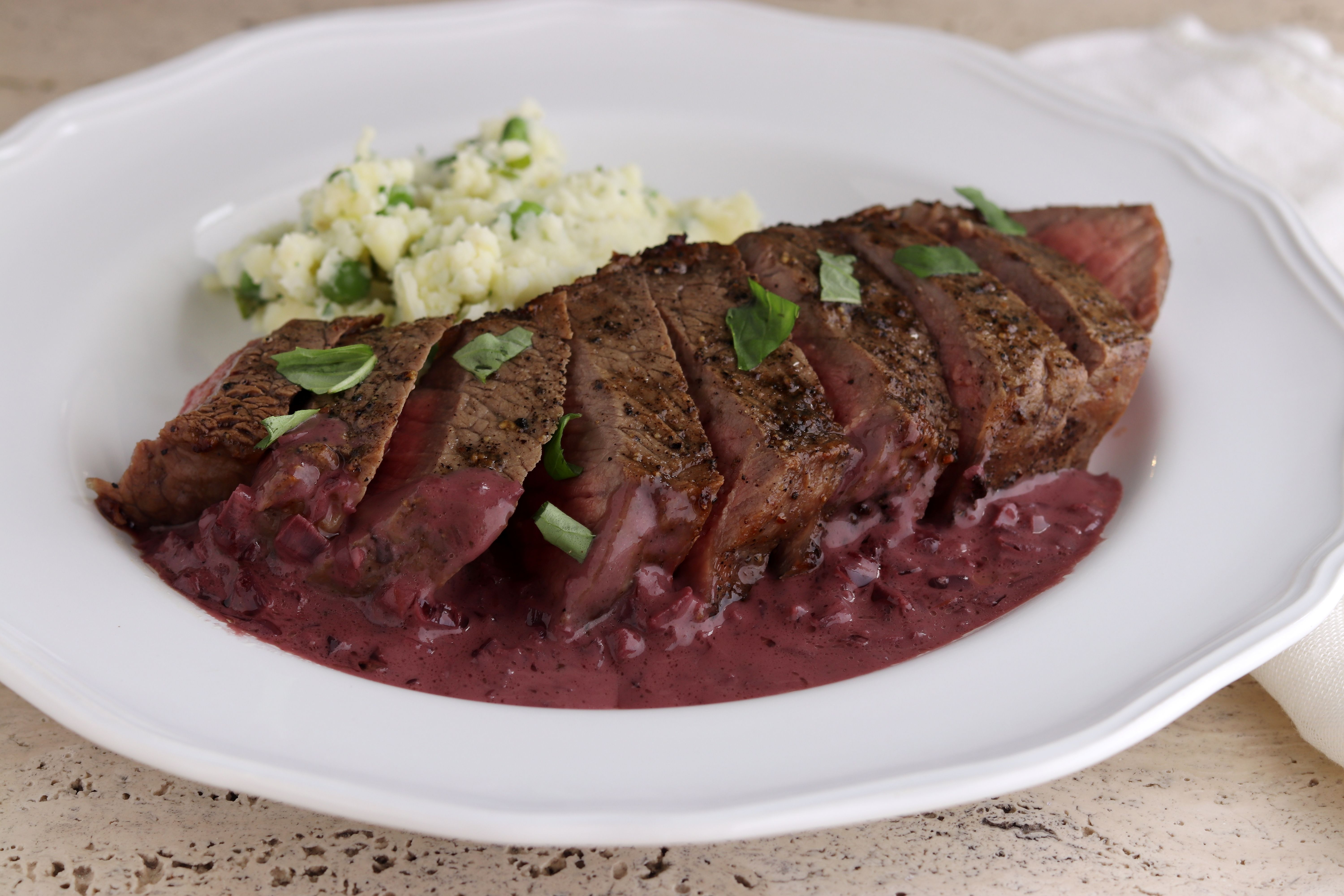 Air Fried New York Strip Steak with Red Wine Sauce