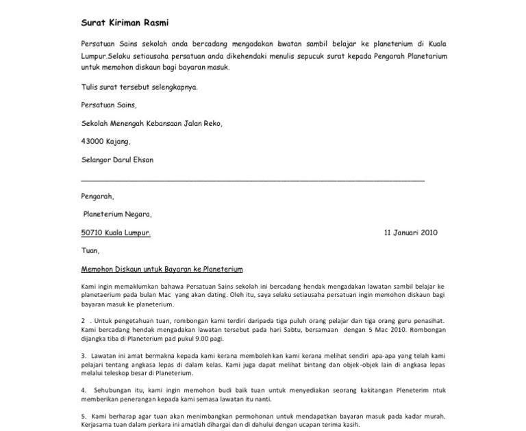 Contoh Surat Rasmi Permohonan Mengadakan Program Kit Contoh Surat