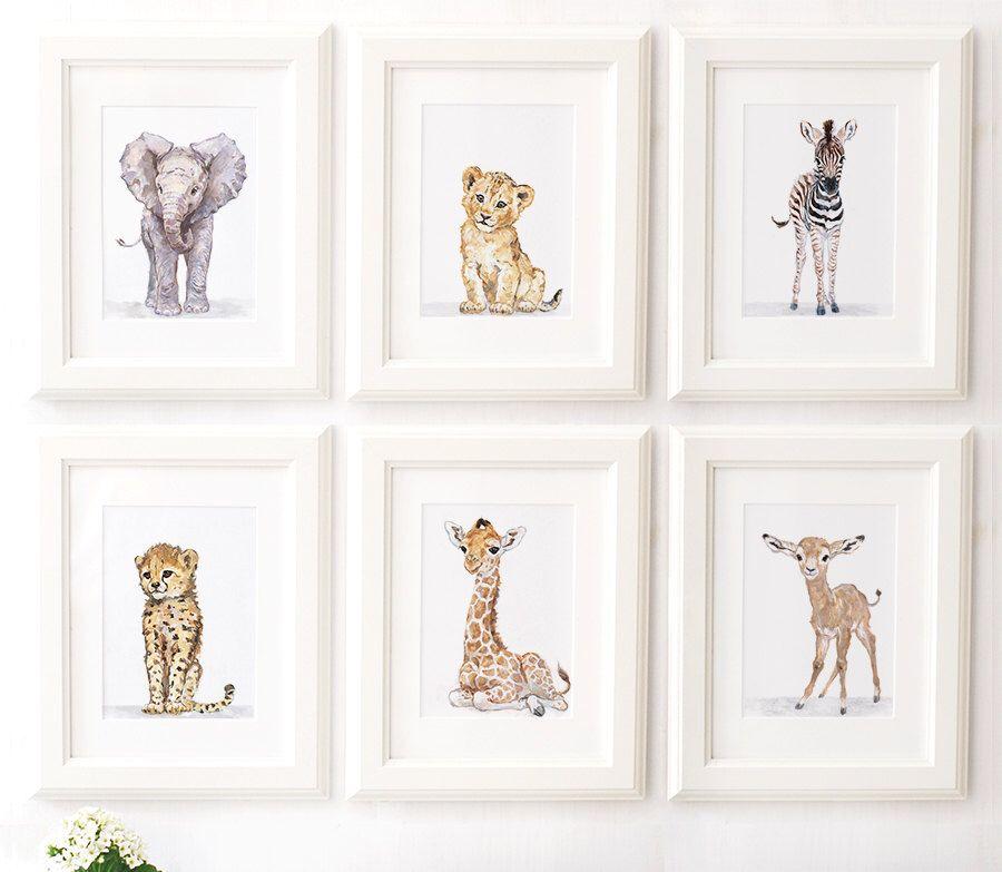 Safari Nursery Print Set Of 6 Safari Animals African Baby Animal Prints Giclee