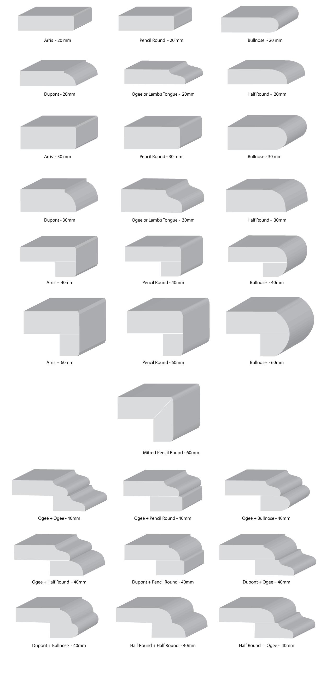 Brisbane Granite And Marble Edge Profiles In 2020 Granite Edges Kitchen Marble Granite Benchtop