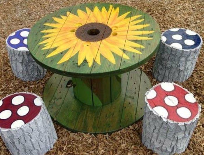 1001 id es que faire avec un touret des inspirations r cup tourets wooden cable reel - Deco jardin fait main caen ...