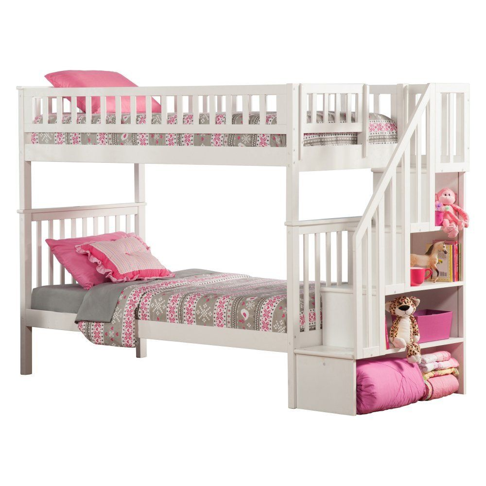 Amazon.com - Atlantic Furniture Woodland Staircase Bunkbed in White - Twin Over Twin -