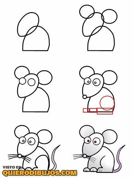 Dibuja un ratn paso a paso  Aprender a dibujar  Pinterest