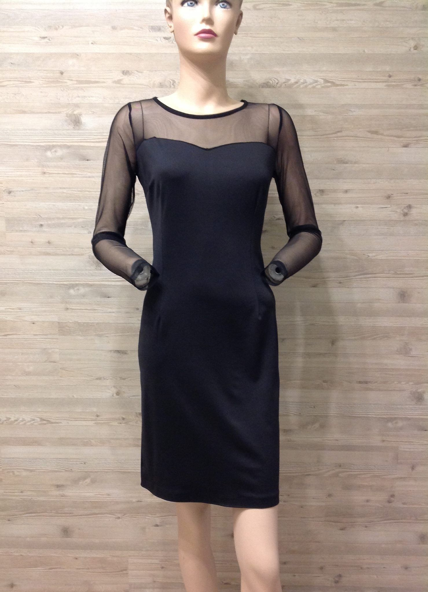 Black Dress,Fitted Stretch tight Dress,Transparent long sleeves and ...