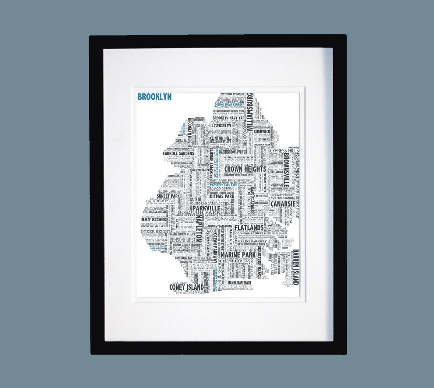 Brooklyn Typographic Map Map art, Seattle map