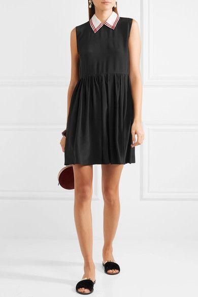 Miu Miu - Silk Crepe De Chine Mini Dress - Black  e42ad37a8e1c3