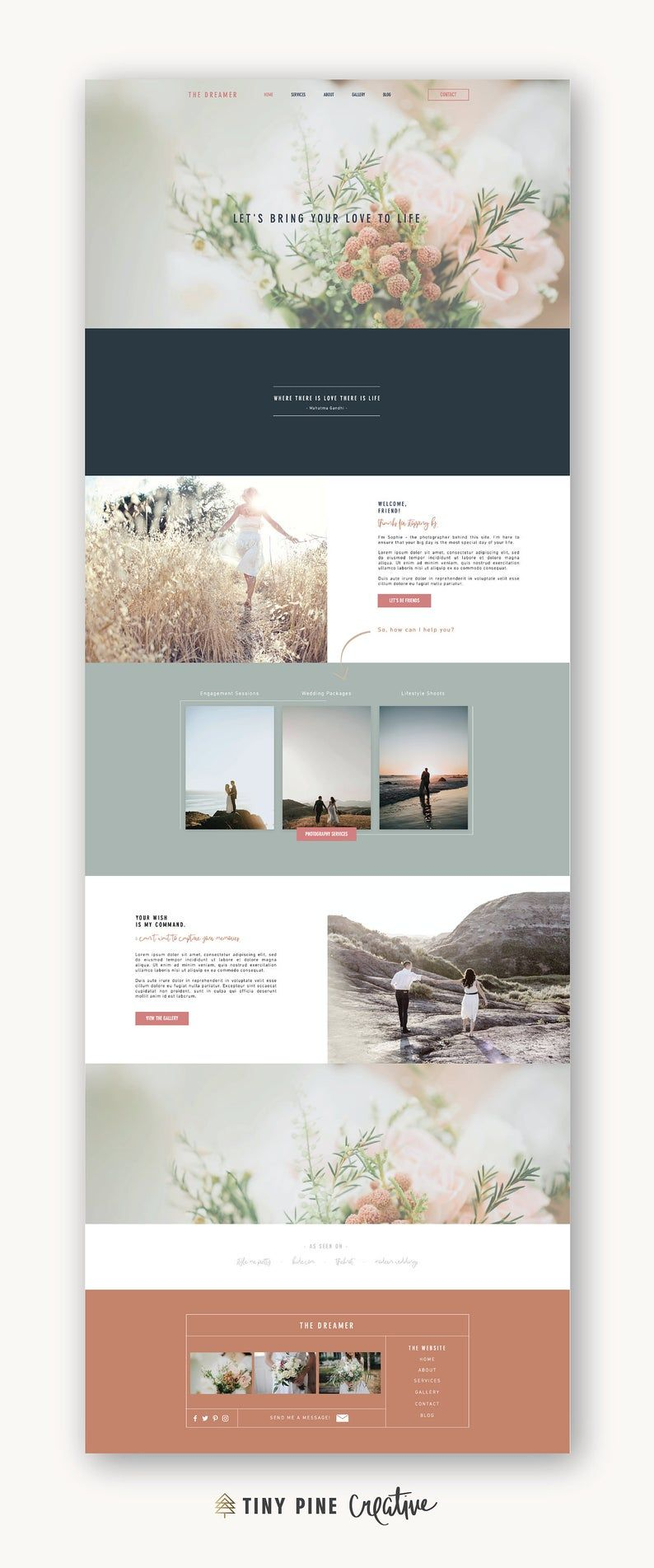 Wix Website Template | Custom template for Photographers | Feminine Website for Small Business | The Dreamer