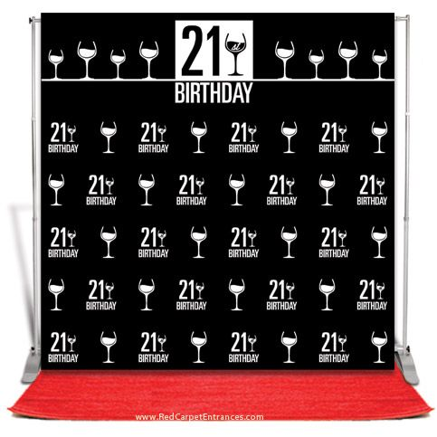 21st birthday backdrop black 8x8 banners and banner stands. Black Bedroom Furniture Sets. Home Design Ideas