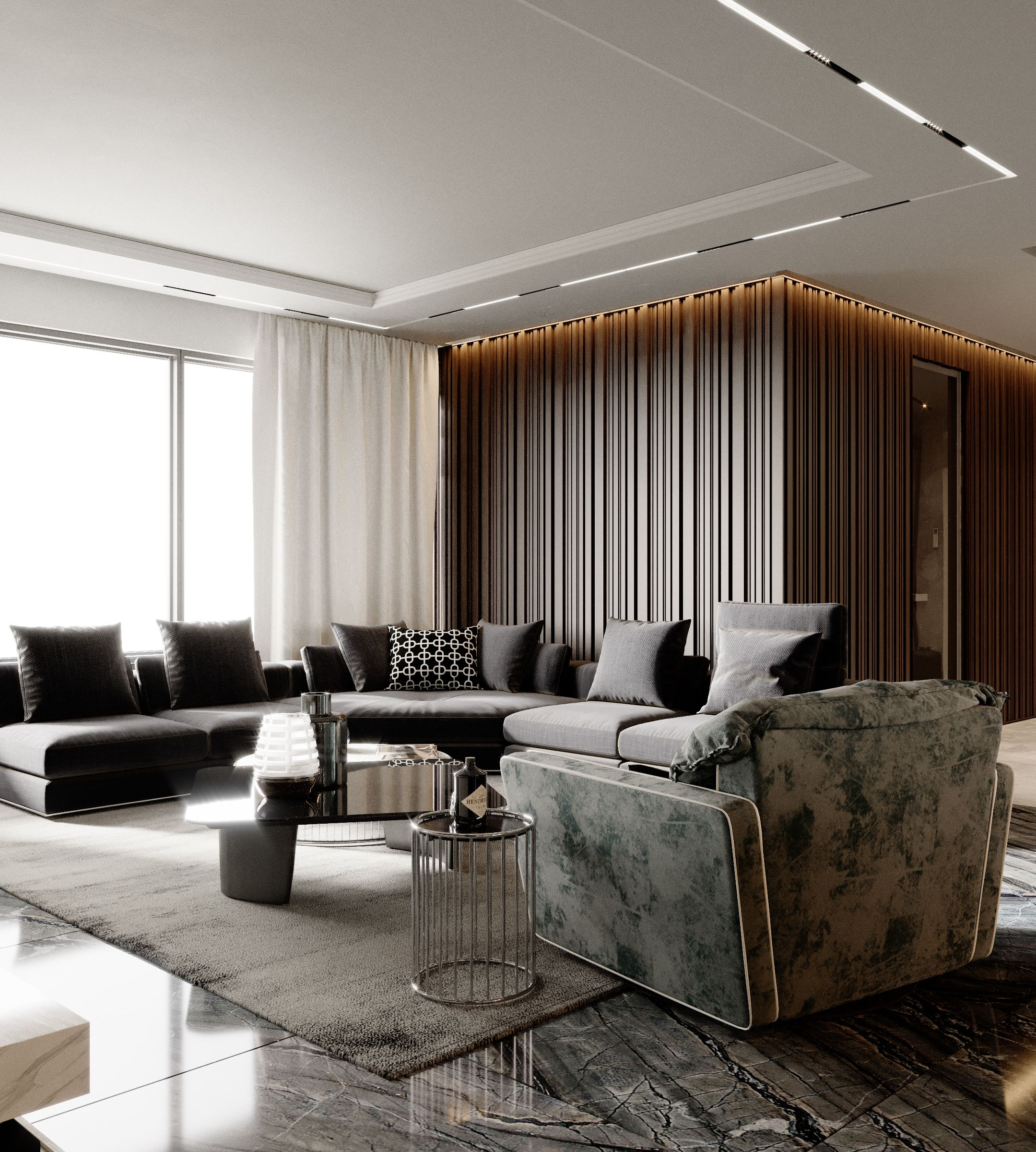 Apartment Lux 018 on Behance | False ceiling living room ...