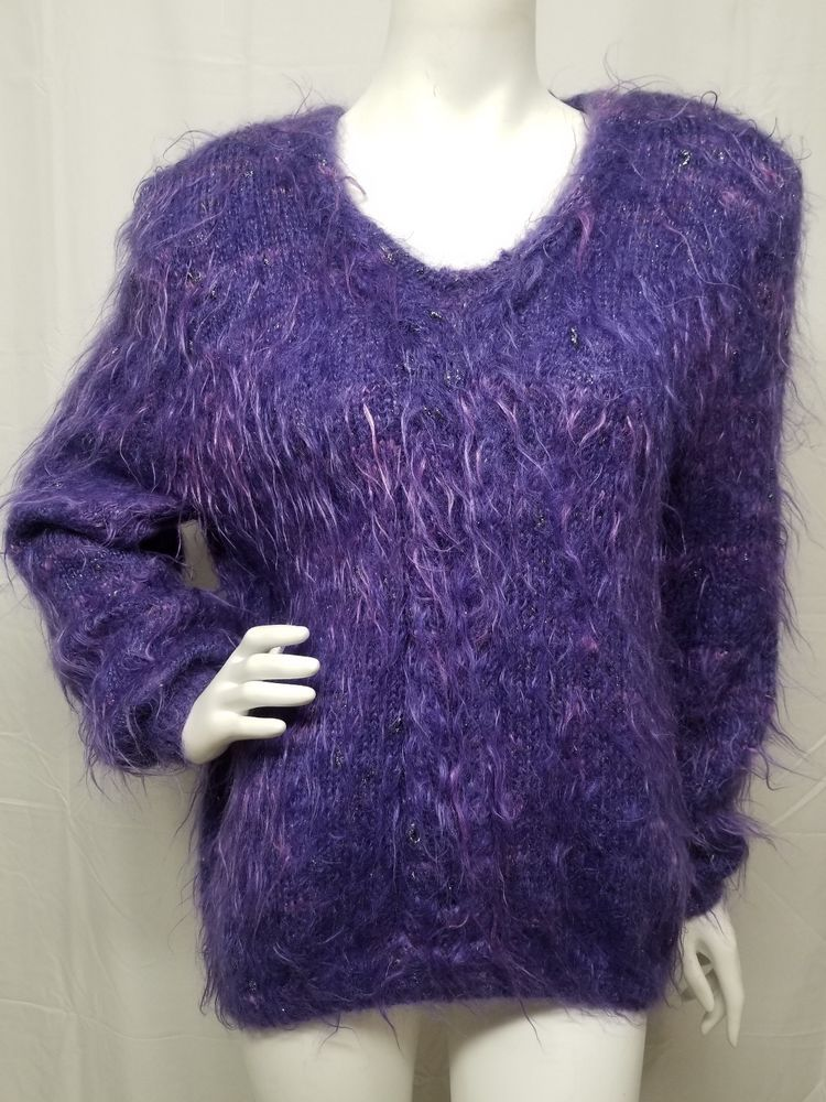 c8f8bfb7d5 Vtg 80s Hand Knit Purple Super Hairy Fuzzy Mohair Sweater Womens LARGE  Amazing!  Handmade