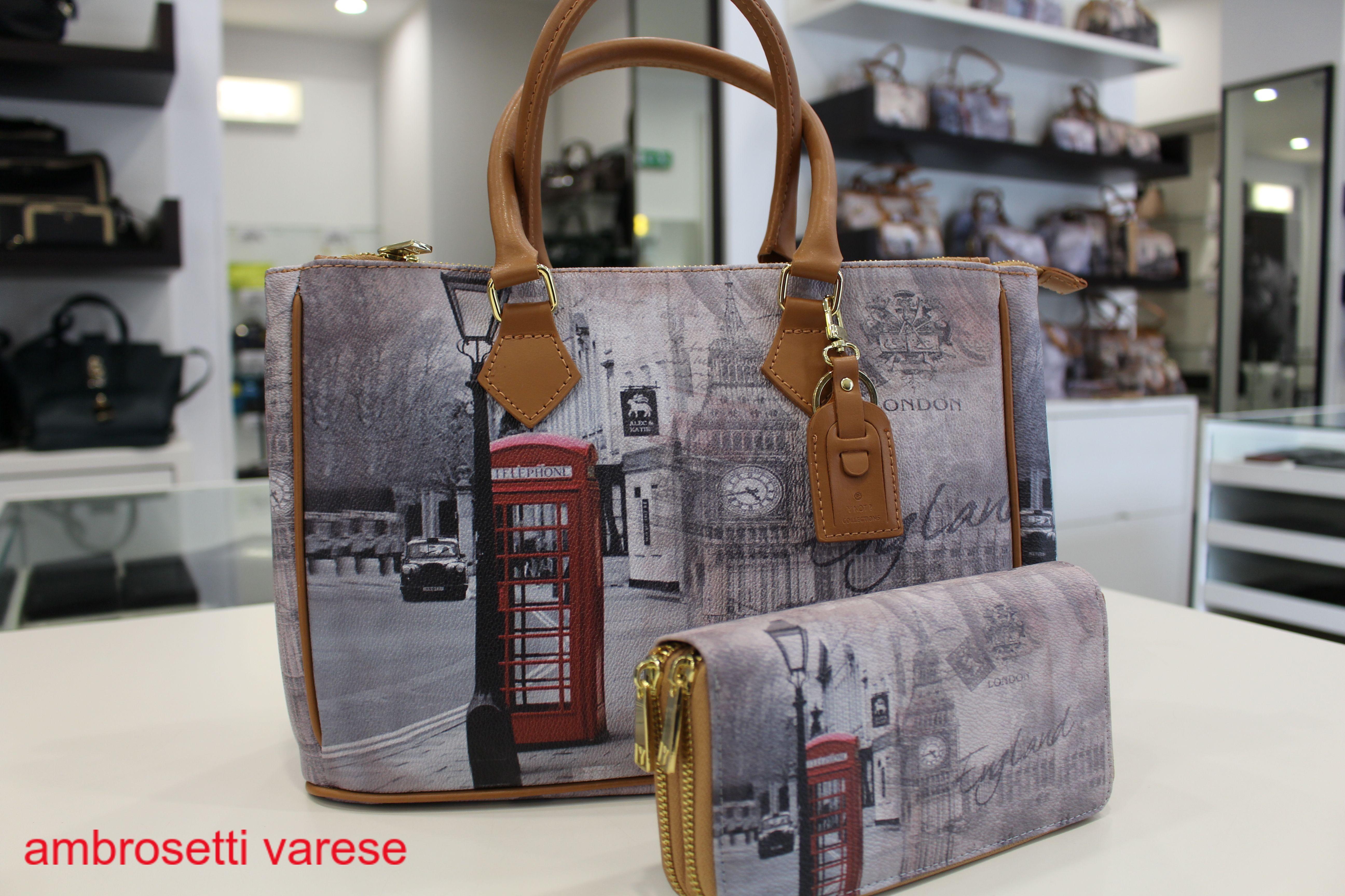 Nuova Collezione F W 2014 15 Shopping bag Ynot stampa PUB e portafoglio  doppia cerniera. 967d061a00f