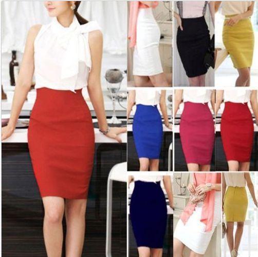 Womens Slim Fitted Business Knee Length Straight High Waist Office Pencil Skirt