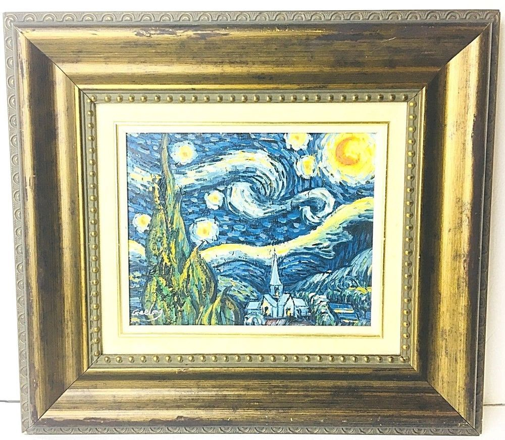 Vincent Van Gogh Starry Night Hand Painted By Geelong Oil Canvas Framed 16x18 Impressionist Painting Starry Night Van Gogh Art