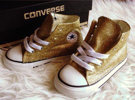 Children Gold Glitter Converse Shoes