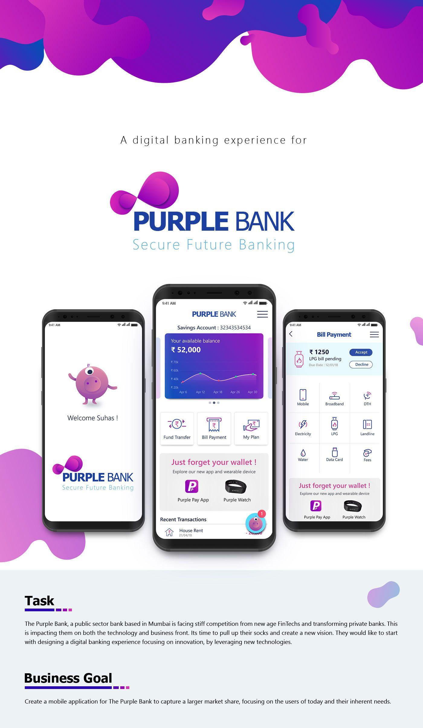 Pin by Dawid W on Bank App Mobile app, App, Purple
