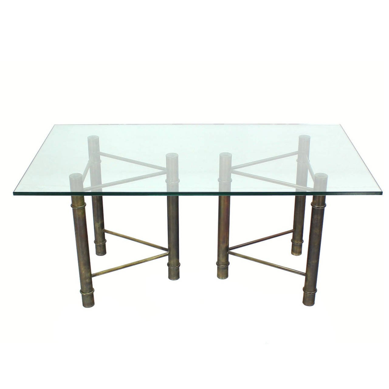 Mastercraft Solid Brass Faux Bamboo Base Glass Top Rectangle