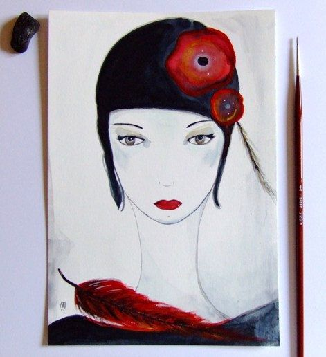 visage femme peinture fleurs femme pinterest visages fleur et art graphique. Black Bedroom Furniture Sets. Home Design Ideas