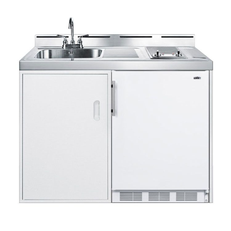Summit C48elglass 48 All In One Combo Kitchen Refrigerator Freezer 2 Burner 1 Cabinet 115v Compact Kitchen Kitchen Design Open Countertop Storage