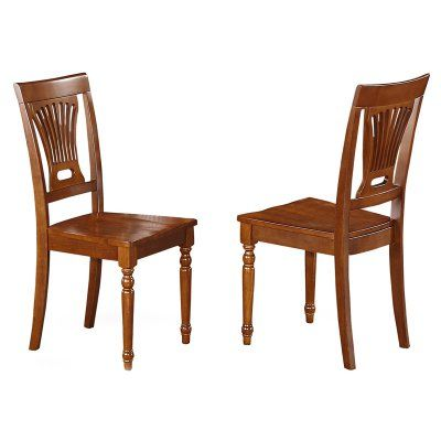 East West Furniture Plainville Dining Chair with Wooden Seat - Set of 2 - EASE110-2