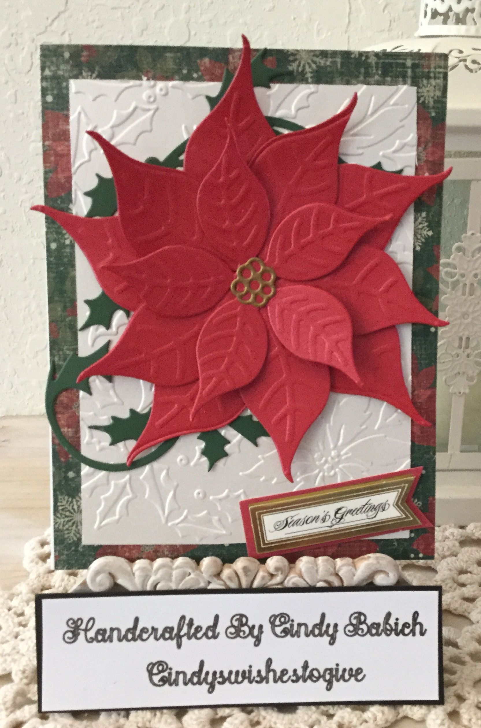 Christmas Card Made With Anna Griffin Holiday Poinsettia Embossing