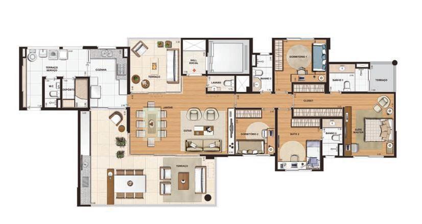 Resultado de imagem para apartamento de 200m2 planos Pinterest