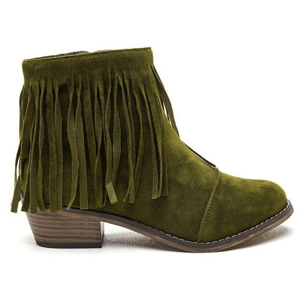 Boho Bae Faux Suede Fringe Booties OLIVE (195 DKK) ❤ liked on Polyvore featuring shoes, boots, ankle booties, ankle boots, green, short fringe boots, olive green booties, green boots and olive green boots