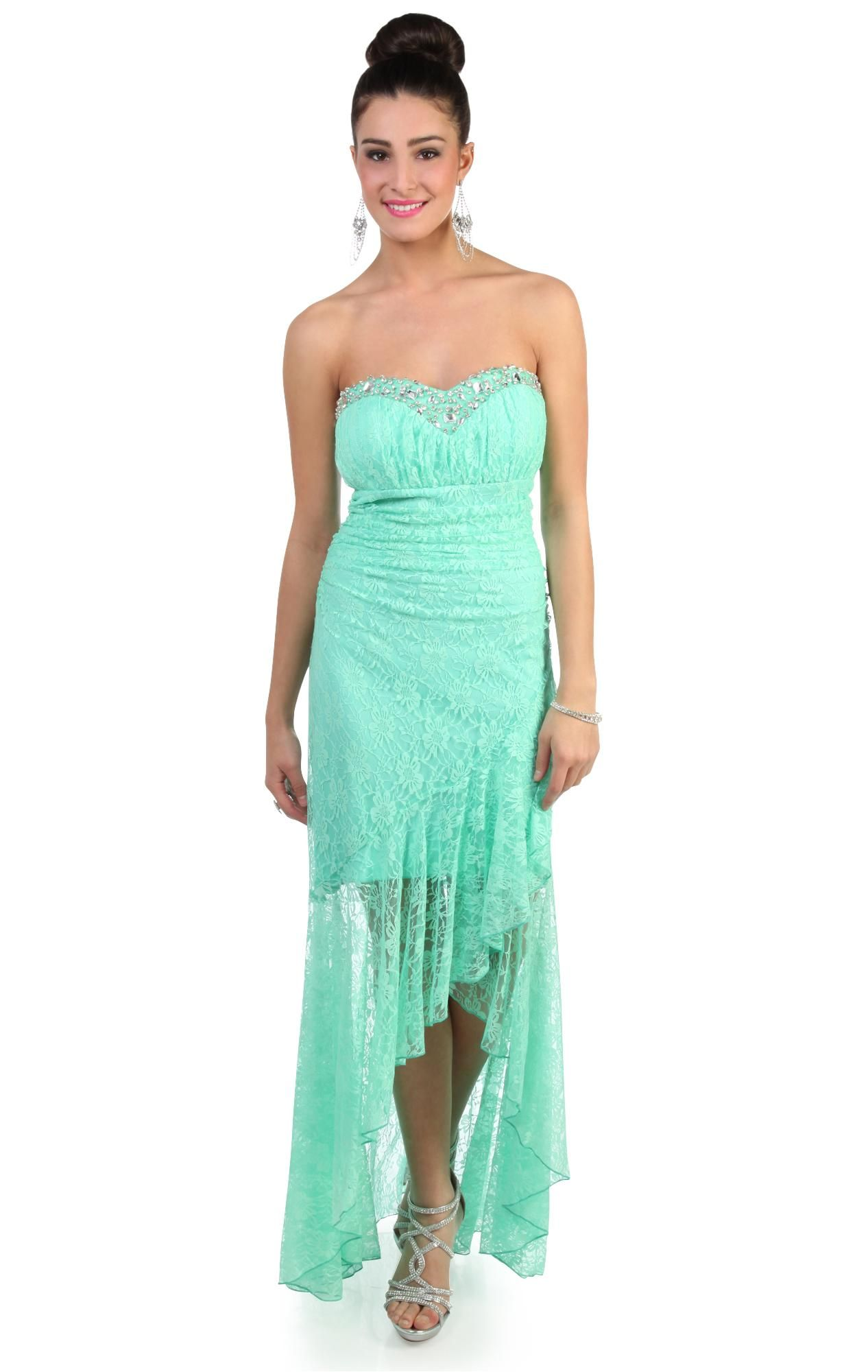 mint all over lace peasant style ruffled high low prom dress $89.99 ...