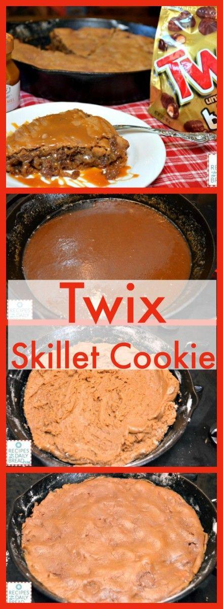 Best Skillet Cookie Ever!  This Twix Skillet Cookie with Caramel Sauce Twix Skillet Cookie.  http://recipesforourdailybread.com/2014/06/20/twix-skillet-cookie-with-caramel/  #skillet cookie #dessert #cookie