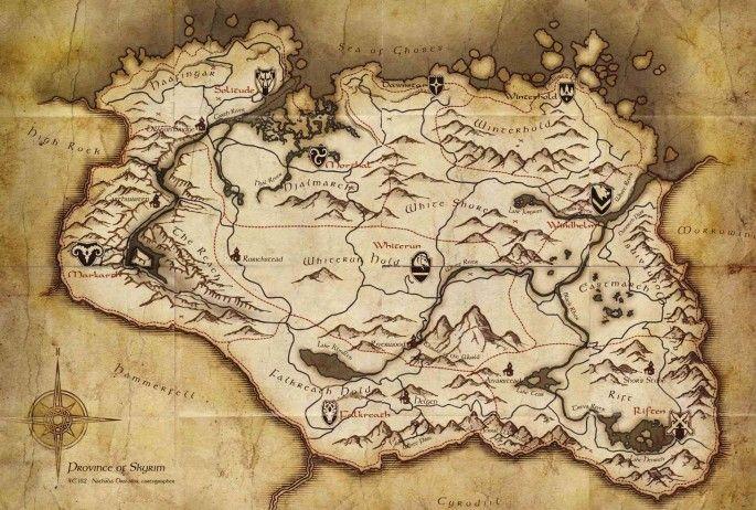 Map Symbols (Skyrim) | Video Games | Skyrim, Skyrim map, Skyrim game