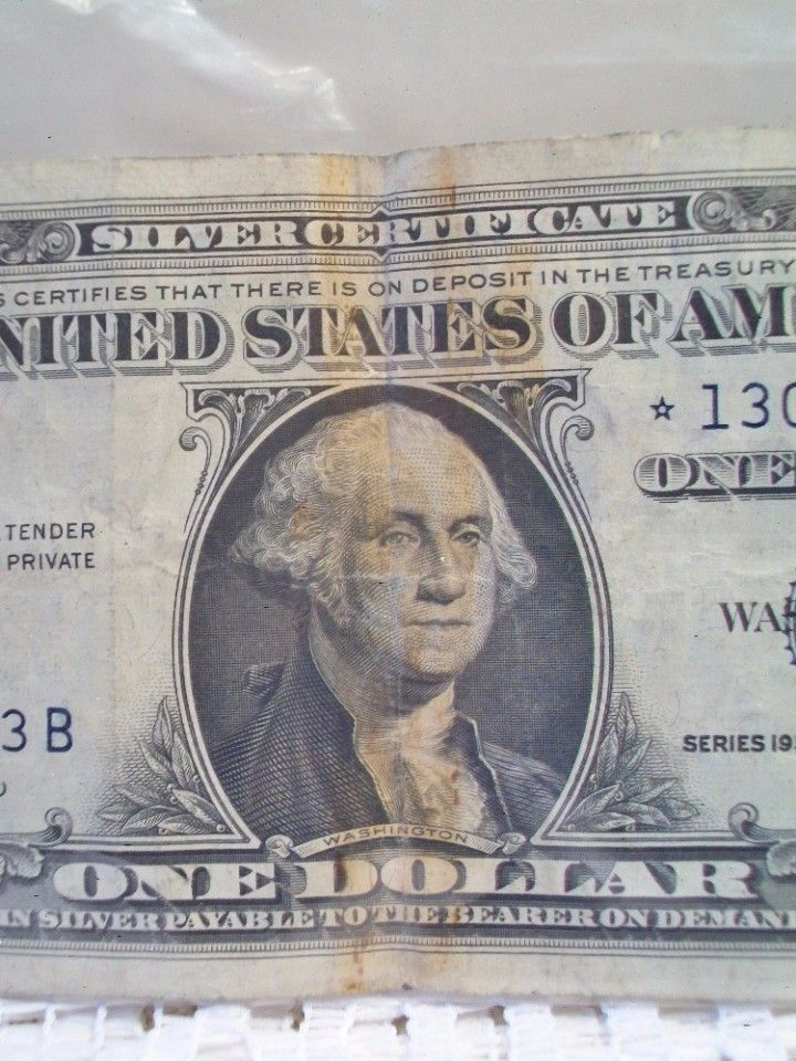Silver Certificate Note One Dollar Bill 1957 Us Currency Money Legal