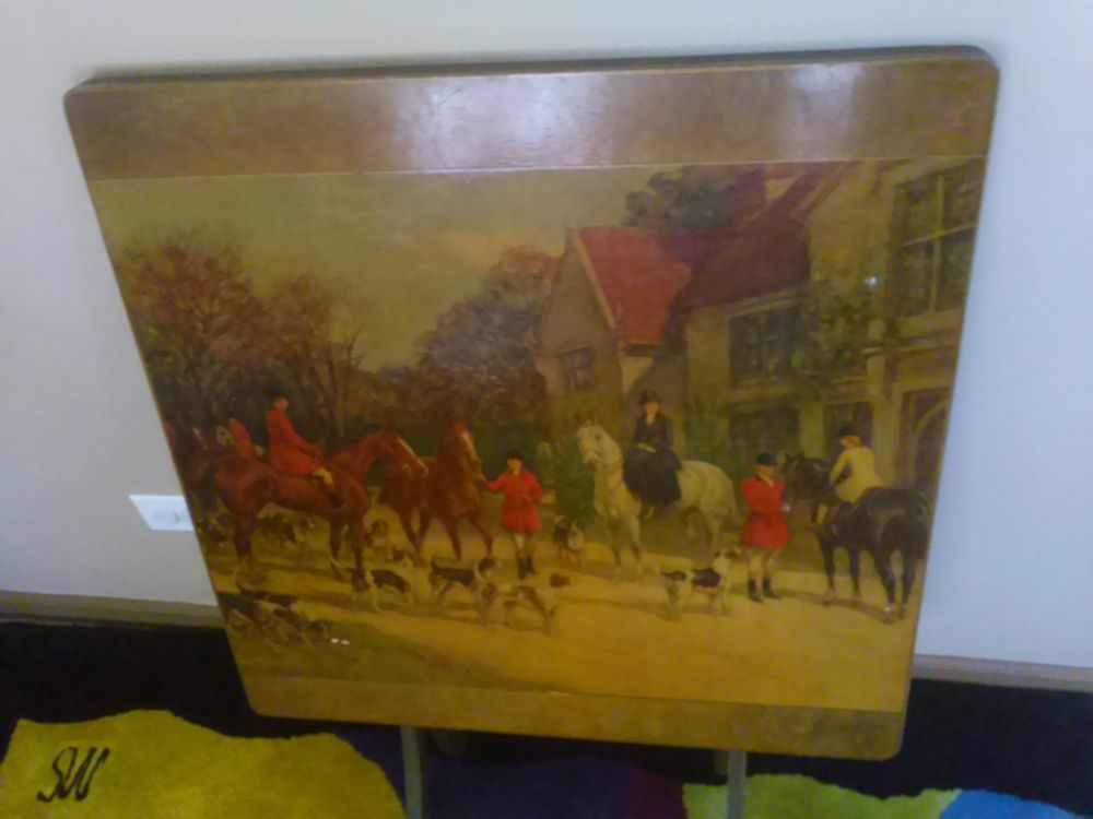 Antique vintage folding card table fireplace screen