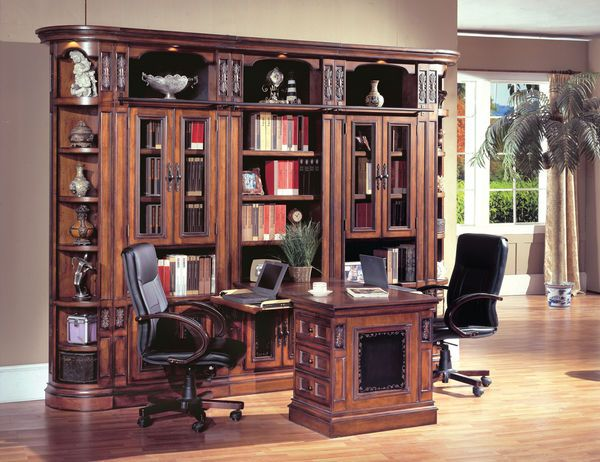 The Davinci Library Wall With Peninsula Desk 12780 Home Office