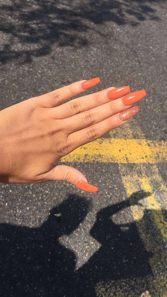55 Acrylic Coffin Nail Designs For Fall And Winter Orange Nails Coffin Nails Designs Orange Acrylic Nails