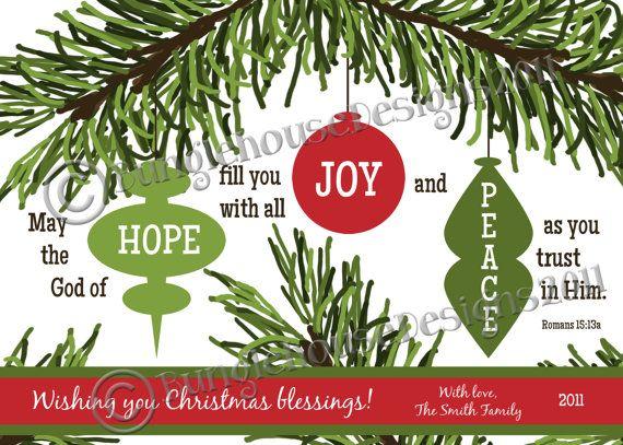 Printable Christmas Card | DIY PRINTABLE | Hope, Joy, And Peace Ornaments |  Christian, Scripture, Bible Verse Christmas Card | Romans 15:13