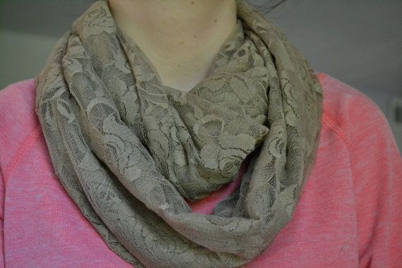 Check out this item in my Etsy shop https://www.etsy.com/listing/253173460/lace-infinity-scarf-tan-infinity-scarf