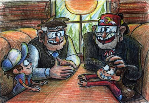 demona-silverwing:  http://demona-silverwing.deviantart.com/art/At-the-Diner-521033891  Two sets of Mystery Twins having some family time at the Diner.