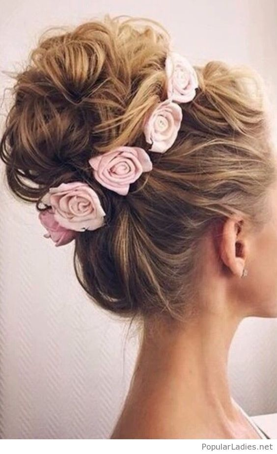 High Messy Bun With Pink Roses Long Hair Styles Hair Styles Hair Inspiration