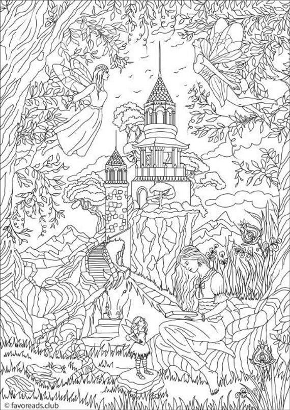 Fantasy Fairies - Printable Adult Coloring Page from ...